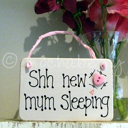 Free Baby Gifts For New Mums Uk : Shh new mum sleeping wooden plaque baby gifts